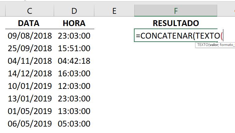 Abrindo a função concatenar e texto para combinar data e hora no Excel