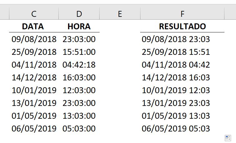 Concluindo combinar data e hora no Excel primeira maneira ok