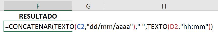 Concluindo combinar data e hora no Excel primeira maneira