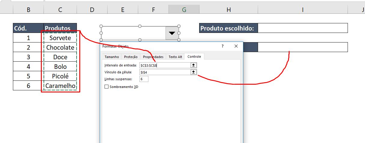 Confgurando Formatar Controle para Caixa de listagem com múltipla escolha no Excel