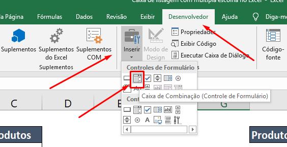 Criando caixa de combinação para Caixa de listagem com múltipla escolha no Excel