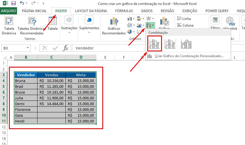 Criando o primeiro gráfico de combinação no Excel