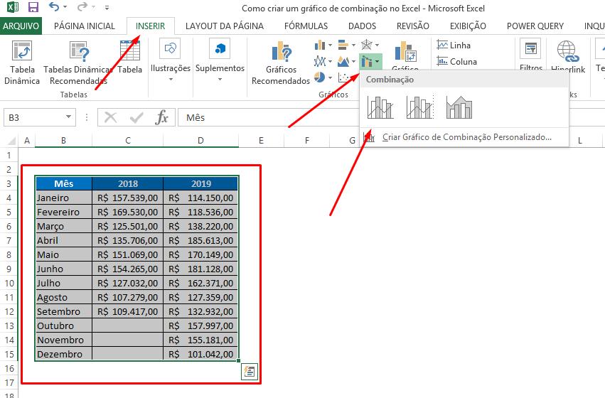 Criando o segundo gráfico de combinação no Excel