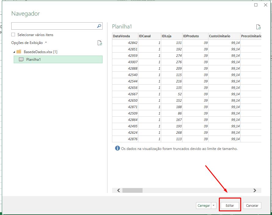 Editar para Importar de Pasta de Trabalho de Excel pelo Power Query