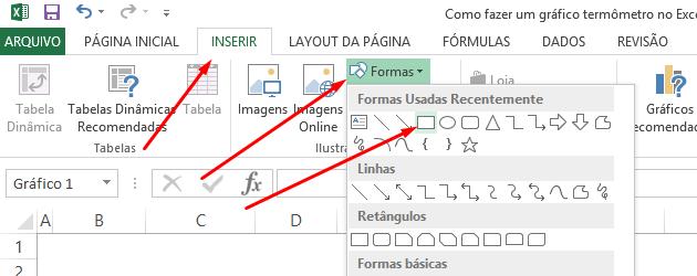Formas para gráfico termômetro no Excel