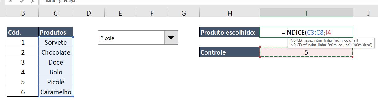Função ÍNDICE para Caixa de listagem com múltipla escolha no Excel