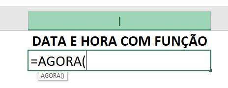 Função AGORA para combinar data e hora no Excel