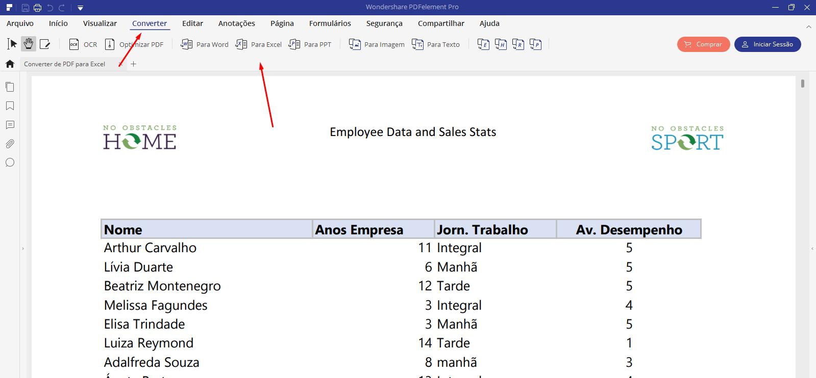 Guia Converter de PDF para Excel