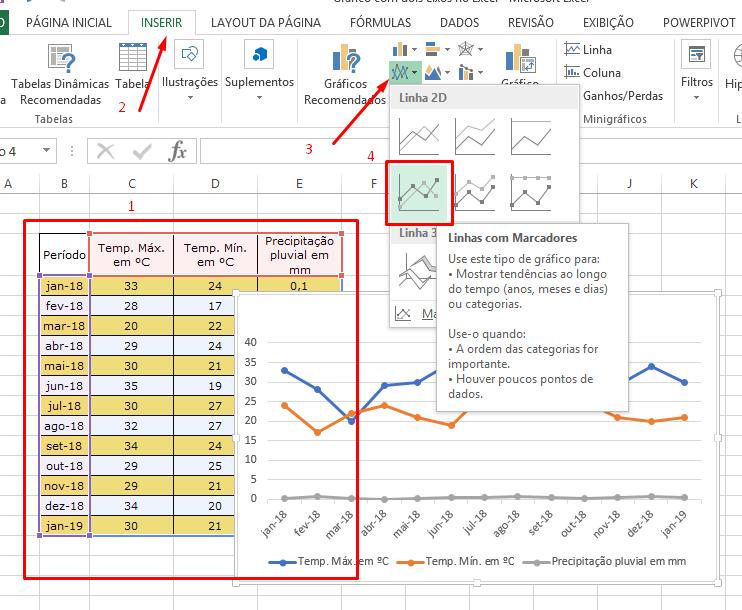 Inserindo linhas para gráfico com dois eixos no Excel