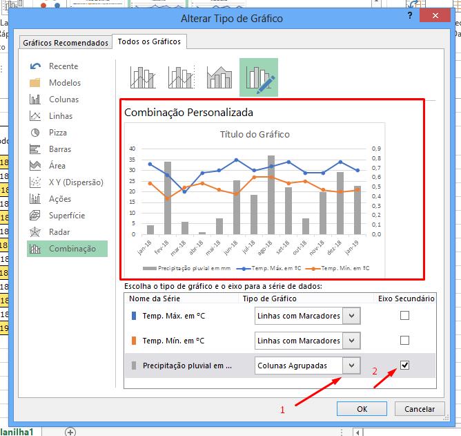 Janela alterar para gráfico com dois eixos no Excel