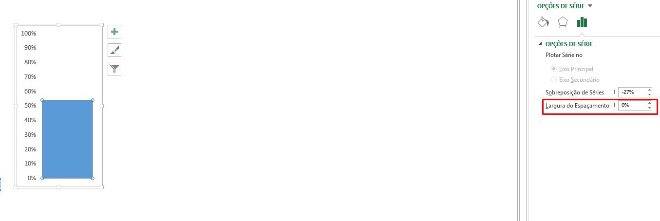 Largura do espaçamento para gráfico termômetro no Excel