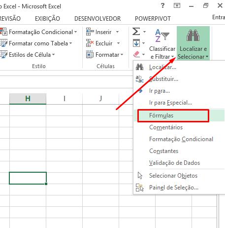 Localizar para célula tem fórmula no Excel