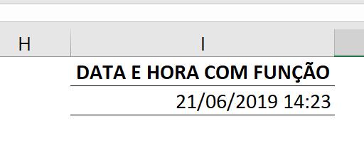 Resultado da função AGORA para combinar data e hora no Excel