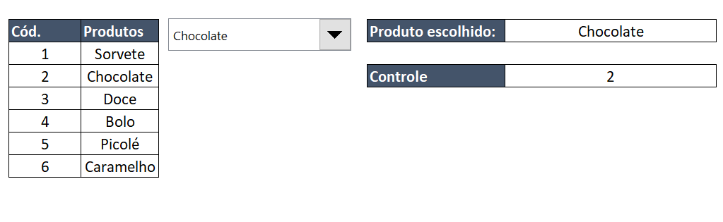 Resultado de Caixa de listagem com múltipla escolha no Excel