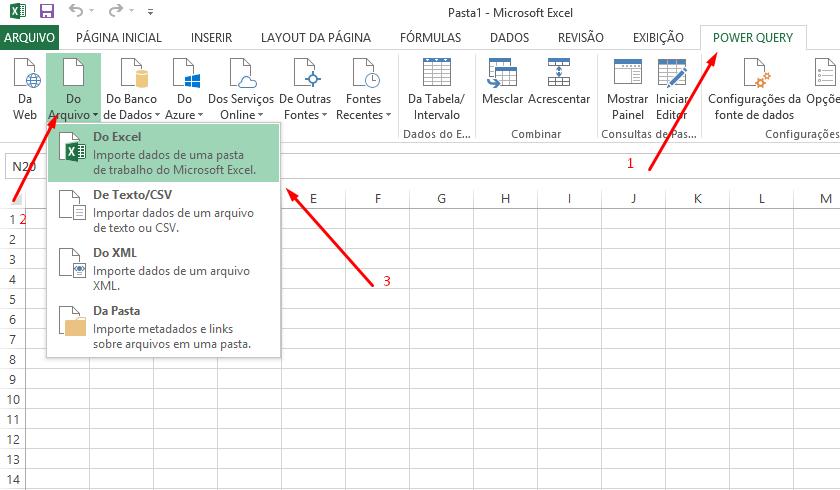 Importar de Pasta de Trabalho de Excel pelo Power Query 2