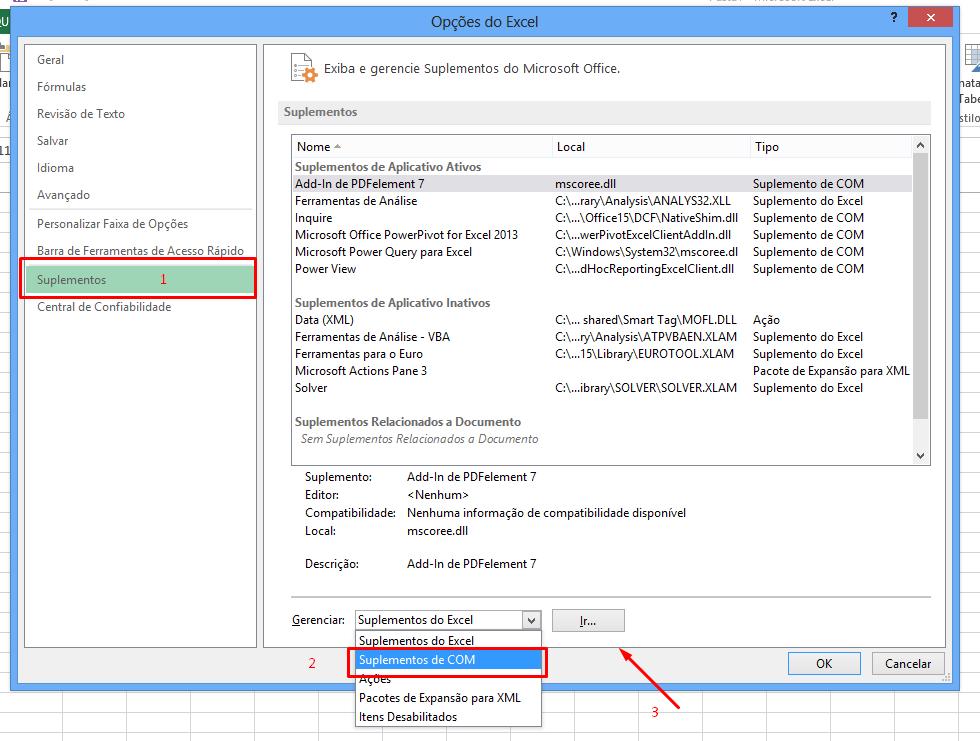 Suplementos COM para ativar o Power Pivot no Excel