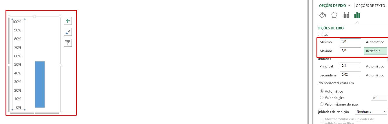 Tamanho do eixo do gráfico termômetro no Excel