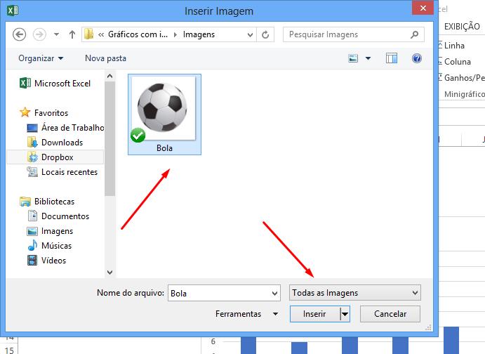 bola para Gráfico com imagem no Excel