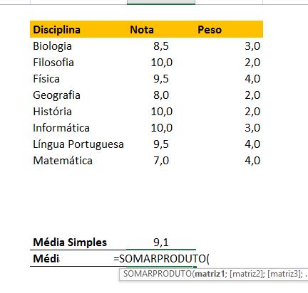 Abrindo somarproduto para Calcular Média Ponderada no Excel