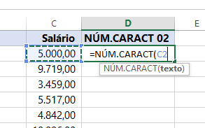 Argumento para Função NÚM.CARACT de números