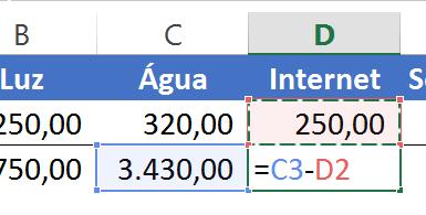Cálculo da Internet para criar um Gráfico em cascata