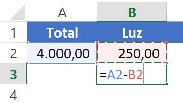 Cálculo da luz para criar um Gráfico em cascata