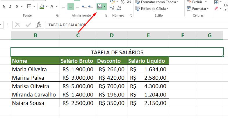 Erro em Mesclar Células no Excel
