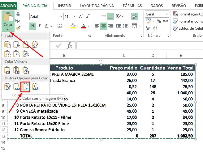 Colando planilha como imagem para salvar planilhas de Excel como imagem