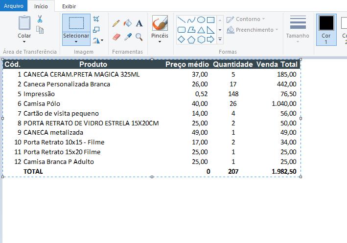 Colando planilha no paint para salvar planilhas de Excel como imagem