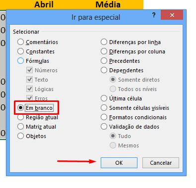Em branco para células em Branco Automaticamente no Excel
