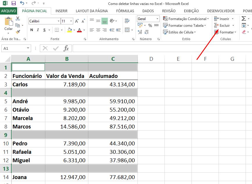 Excluir para deletar linhas vazias no Excel