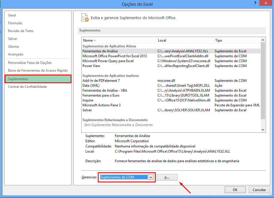 Gerenciando suplementos para ativar o Power View no Excel