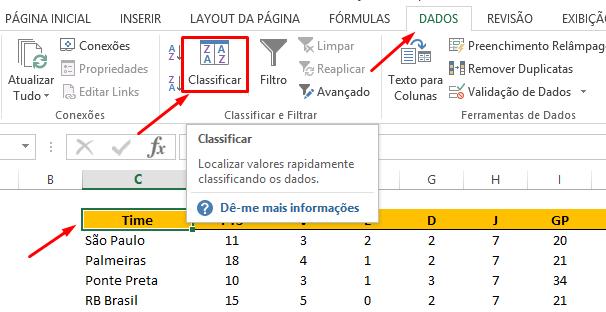 Guia dados para classificação do campeonato no Excel