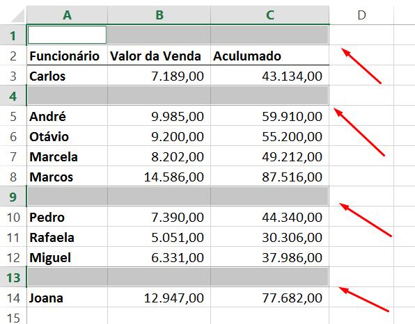 Linhas em branco para deletar linhas vazias no Excel