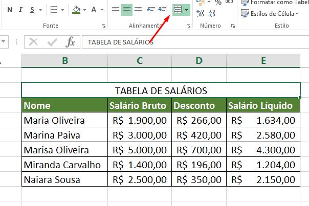 Resultado de Mesclar Células no Excel