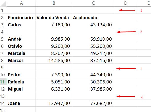 Mostrando linhas para deletar linhas vazias no Excel