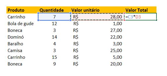 Multiplicando para função SomarProduto no Excel