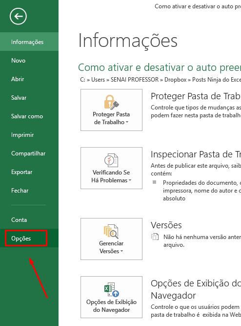 Opções para ativar e desativar o auto preenchimento no Excel