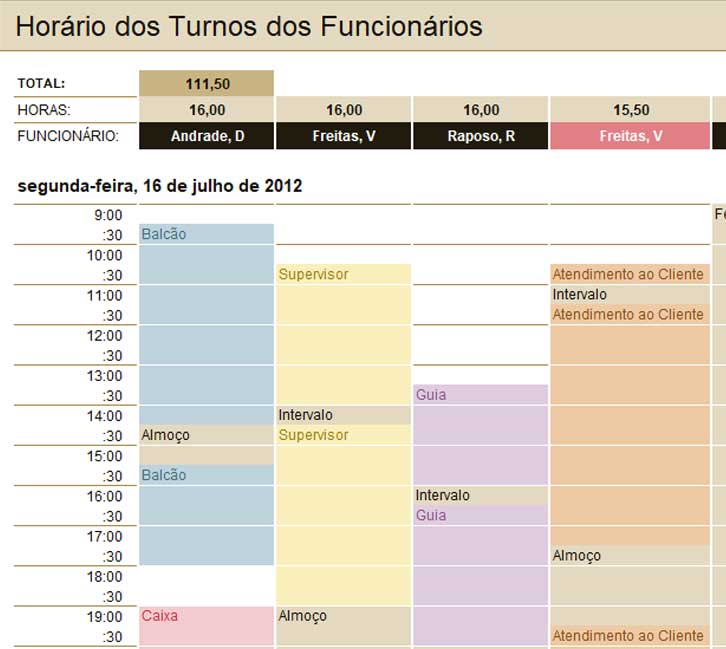 Modelo de Planilha - Turnos de Trabalho no Excel