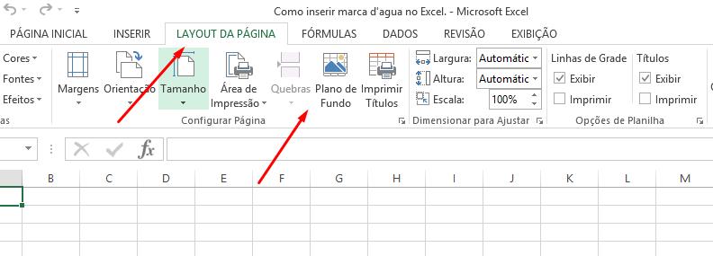 Plano de fundo para inserir marca d'agua no Excel