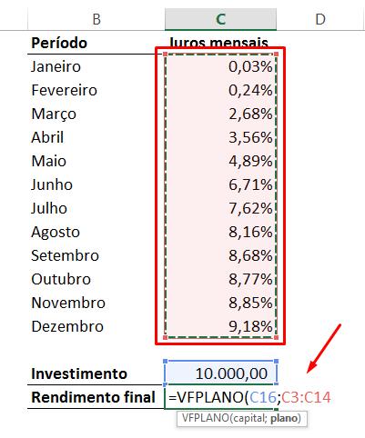 Plano para calcular rendimentos no Excel