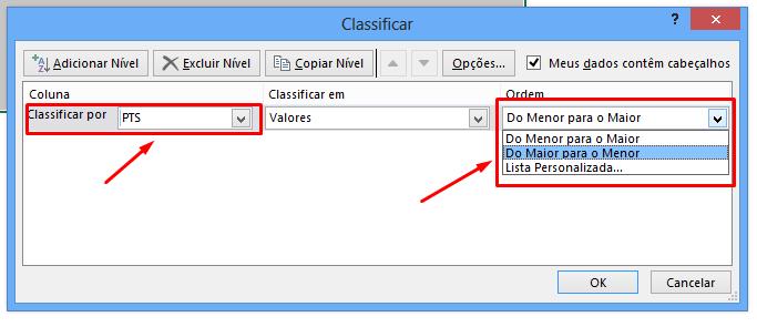 Primeiro nível para classificação do campeonato no Excel
