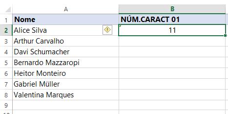 Primeiro resultado de Função NÚM.CARACT