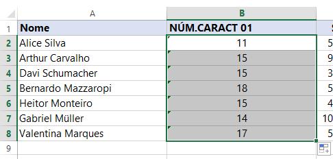 Resultado total Função NÚM.CARACT