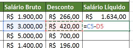 Segundo cálculo de fazer subtração no Excel