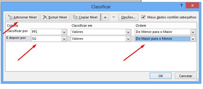 Segundo nível para classificação do campeonato no Excel
