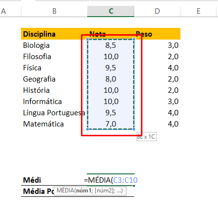 Selecionando coluna Nota para Calcular Média Ponderada no Excel