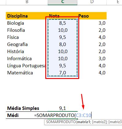 Somando nota para Como Calcular Média Ponderada no Excel