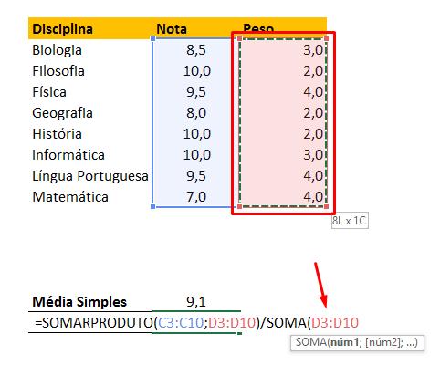 Somando peso de novo para Como Calcular Média Ponderada no Excel