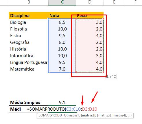 Somando peso para Como Calcular Média Ponderada no Excel